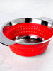 Collapsible Silicon/Stainless Colander (Rouge)