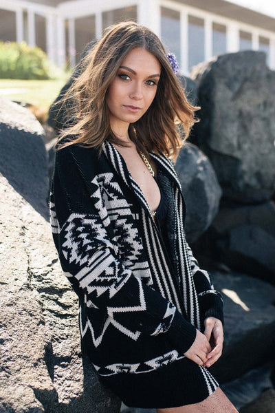 Hooded Tribal Cardigan