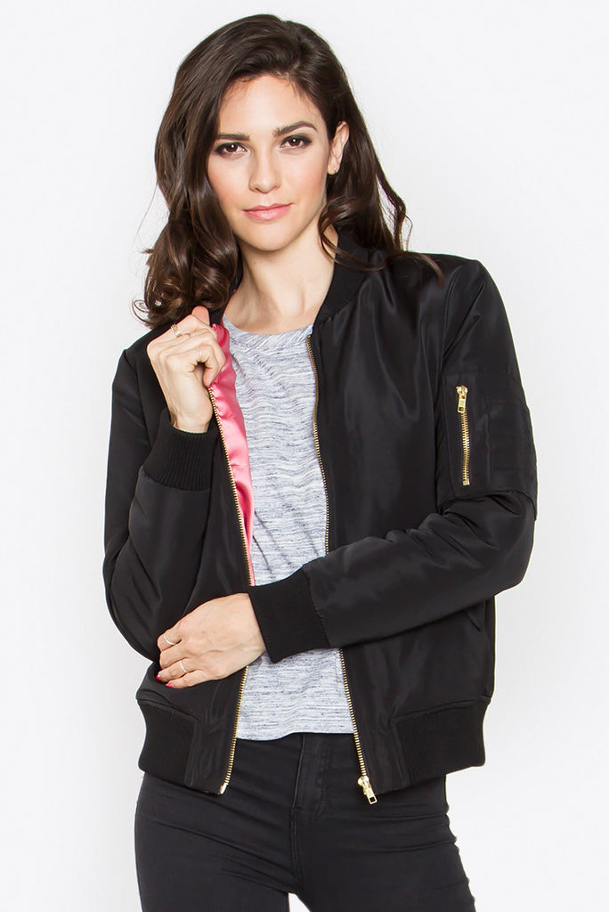 Black Bomber Jacket with Pink Lining
