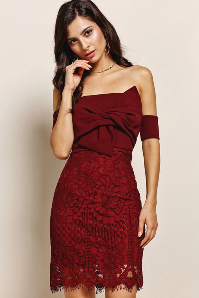 Burgundy Lace Cocktail Dress
