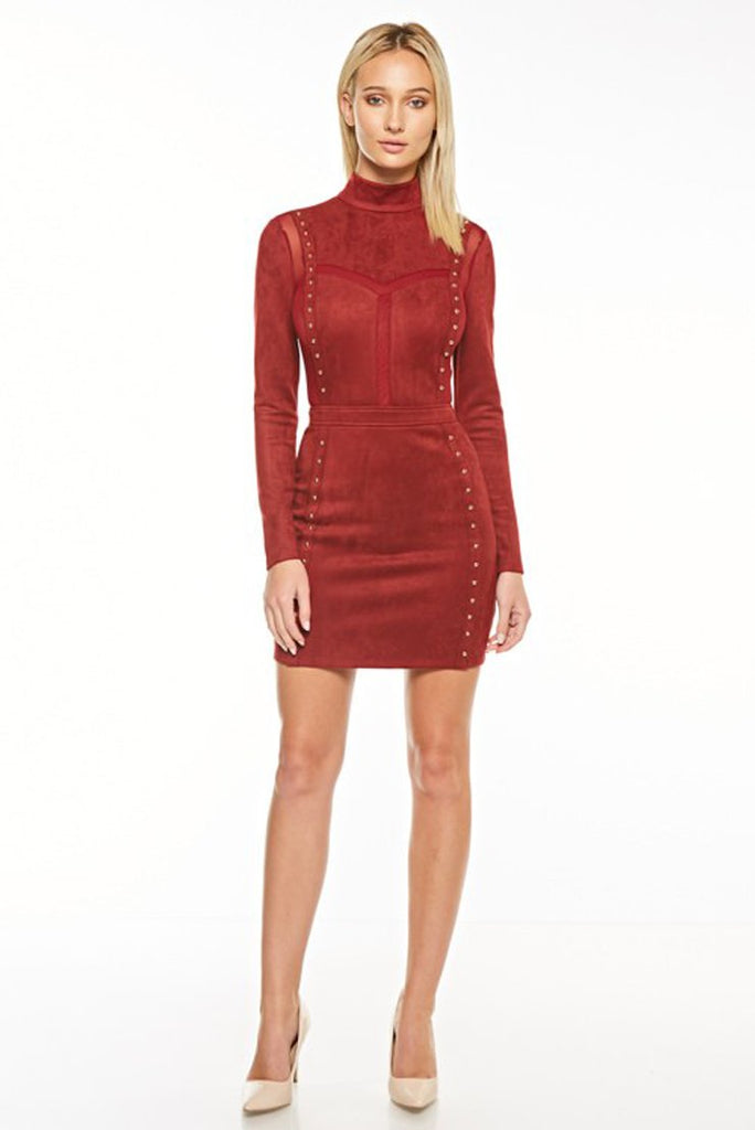 """Walk This Suede"" Burgundy Mini Dress"