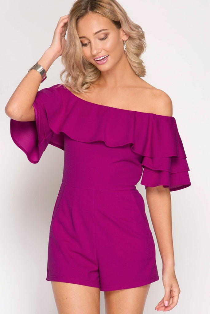 """Everyday I'm Rufflin"" Fuchsia Romper"