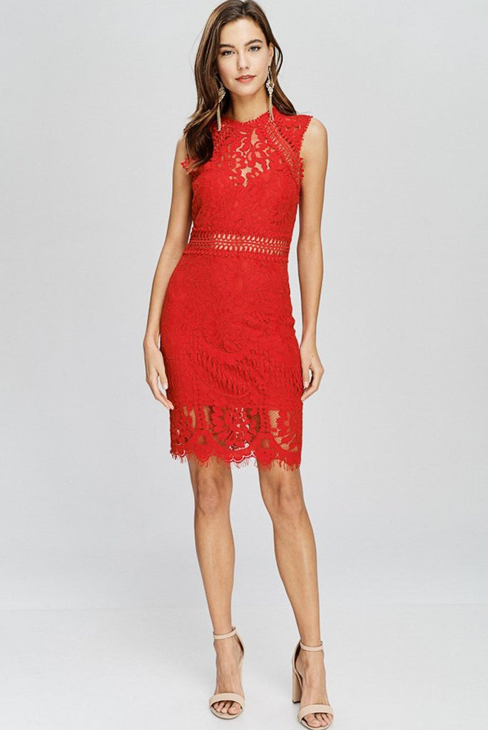 Stella Red Lace Dress