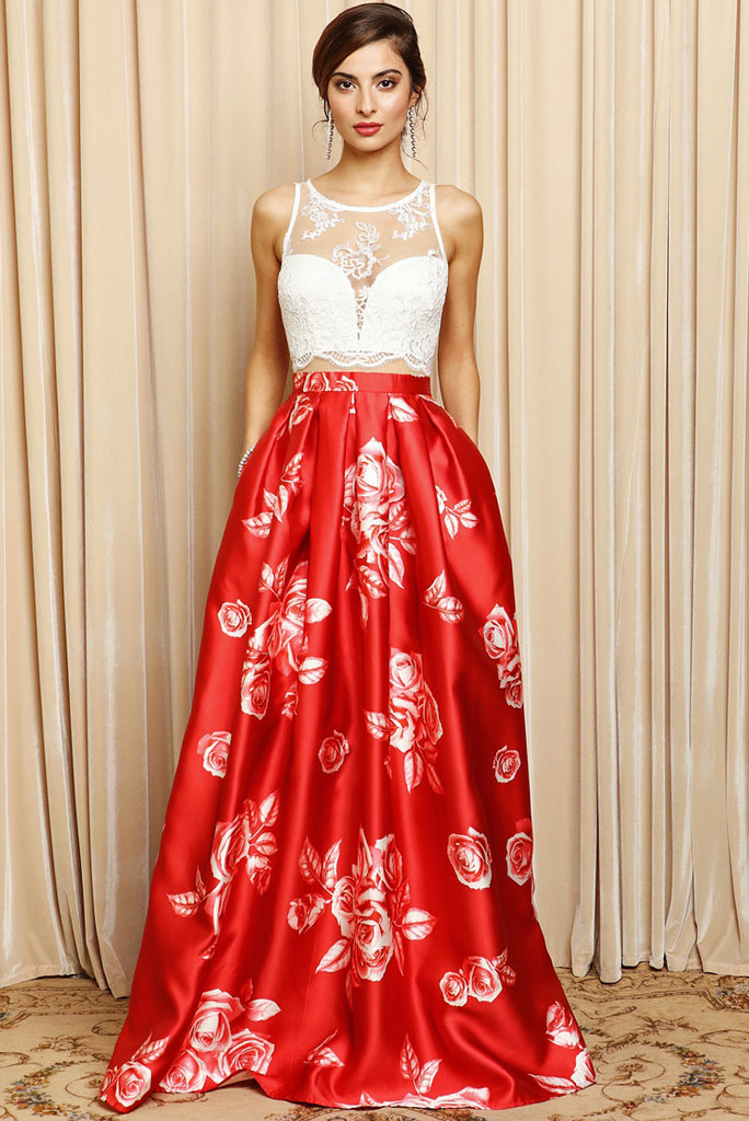 Red and White Lace Ball Gown