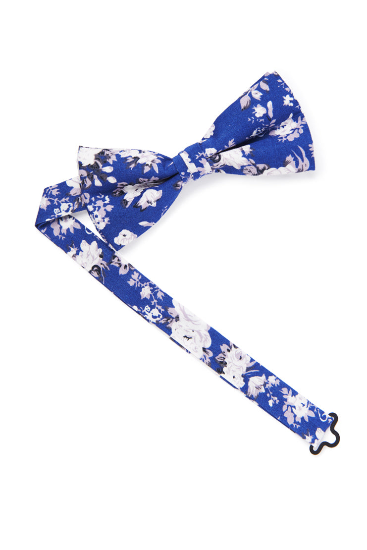 Shabby Chic Floral Bow Tie - Royal Blue