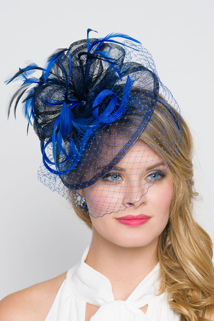 """Noor"" Fascinator - Royal Blue And Navy"
