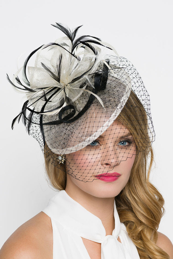 """Noor"" Fascinator - Ivory And Black"