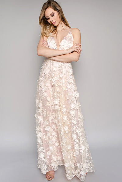 """I Dream In Florals"" 3D Floral Maxi Dress - Champagne"