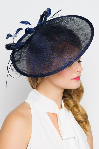 """Wendy"" Fascinator - Navy"
