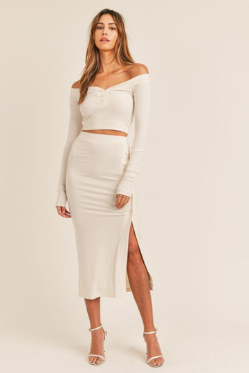 Celeste Crop Top/Midi Skirt 2 PC Set