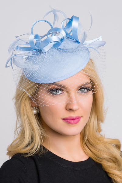 """Juliet"" Felt Fascinator - Light Blue"