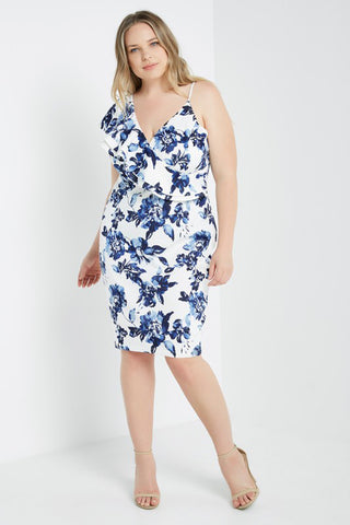 """Sadie"" Floral Flutter Sleeve Bodycon Dress - Plus Size"