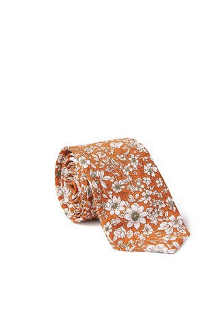 """Andrew"" Floral Print Neck Tie - Orange"