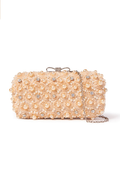 Rosettes & Pearls Clutch - Nude Pink