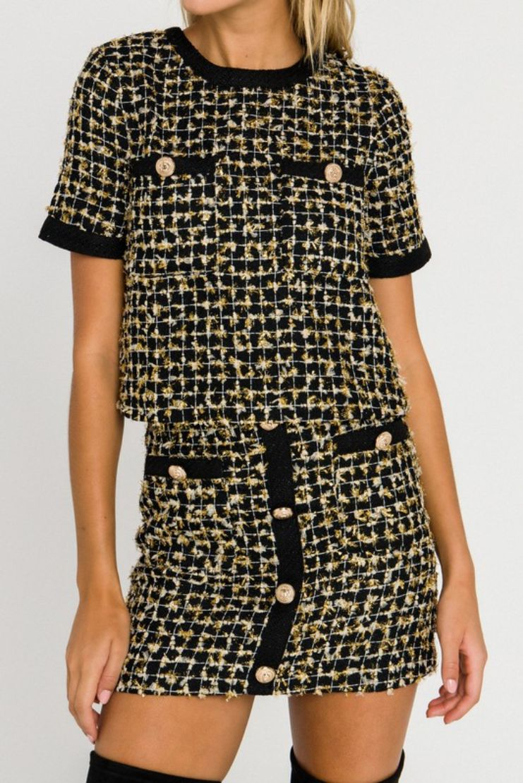 Taylor Black and Gold Metallic Tweed Top