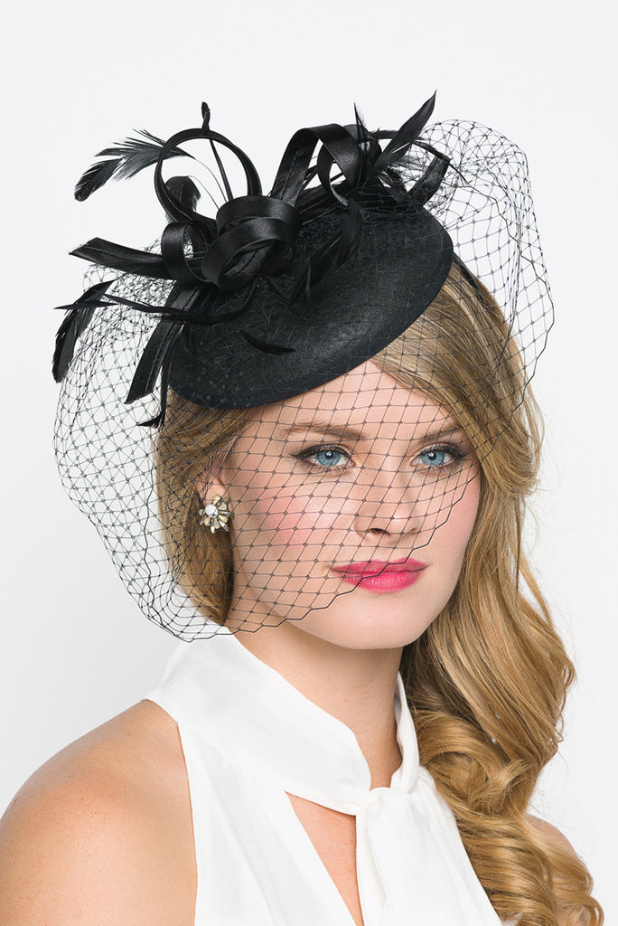 """Juliet"" Felt Fascinator - Black"