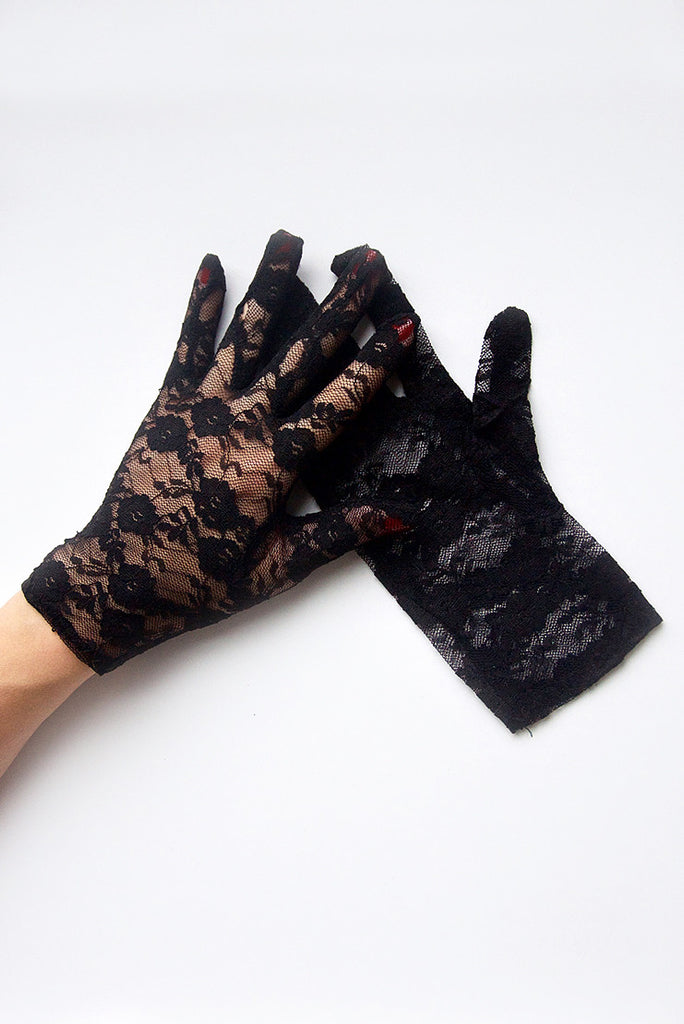 """Gracie"" Black Lace Gloves"