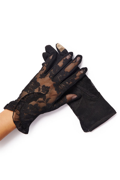 """Lacey"" Black Floral Overlay Lace Gloves"