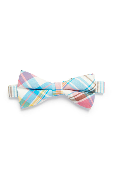 Pastel Plaid Print Bow Tie - Blue