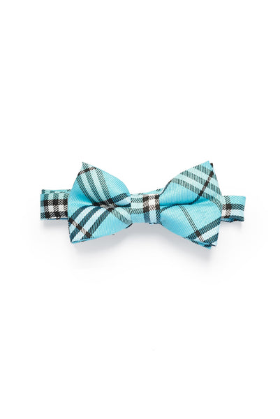 Young Boys Plaid Print Bow Tie - Blue