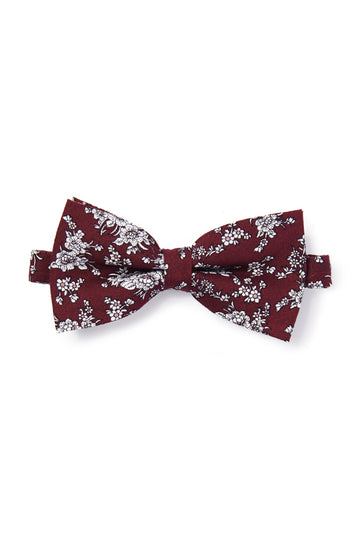 Vintage Floral Sketched Bow Tie - Burgundy & White