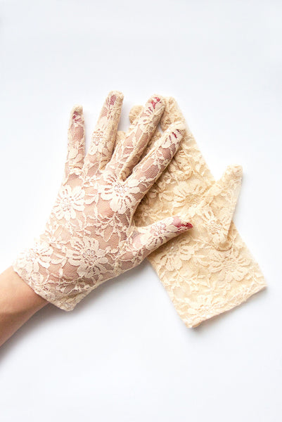 """Gracie"" Nude Lace Gloves"