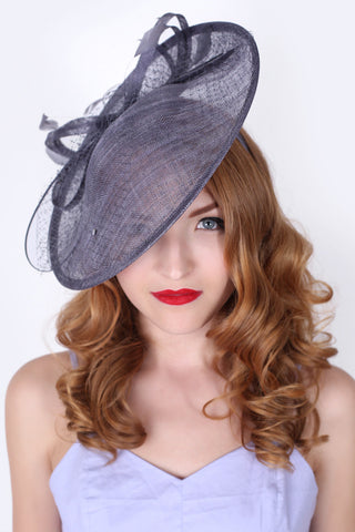 """Wendy"" Fascinator - Charcoal Gray"