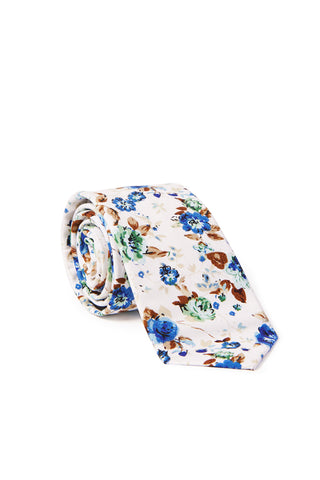 """Charlemagne"" Floral Print Neck Tie - Royal Blue & Mint"