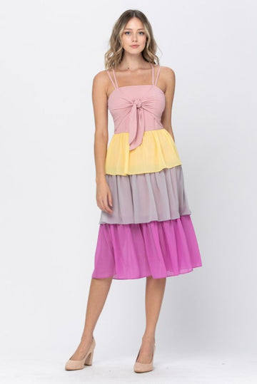 Shelly Colorblock Tiered Midi Dress