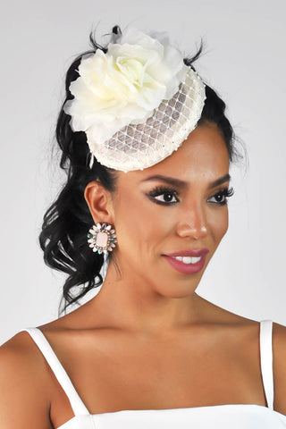 """Marilyn Rose"" Rhinestone Disc Fascinator - Ivory"