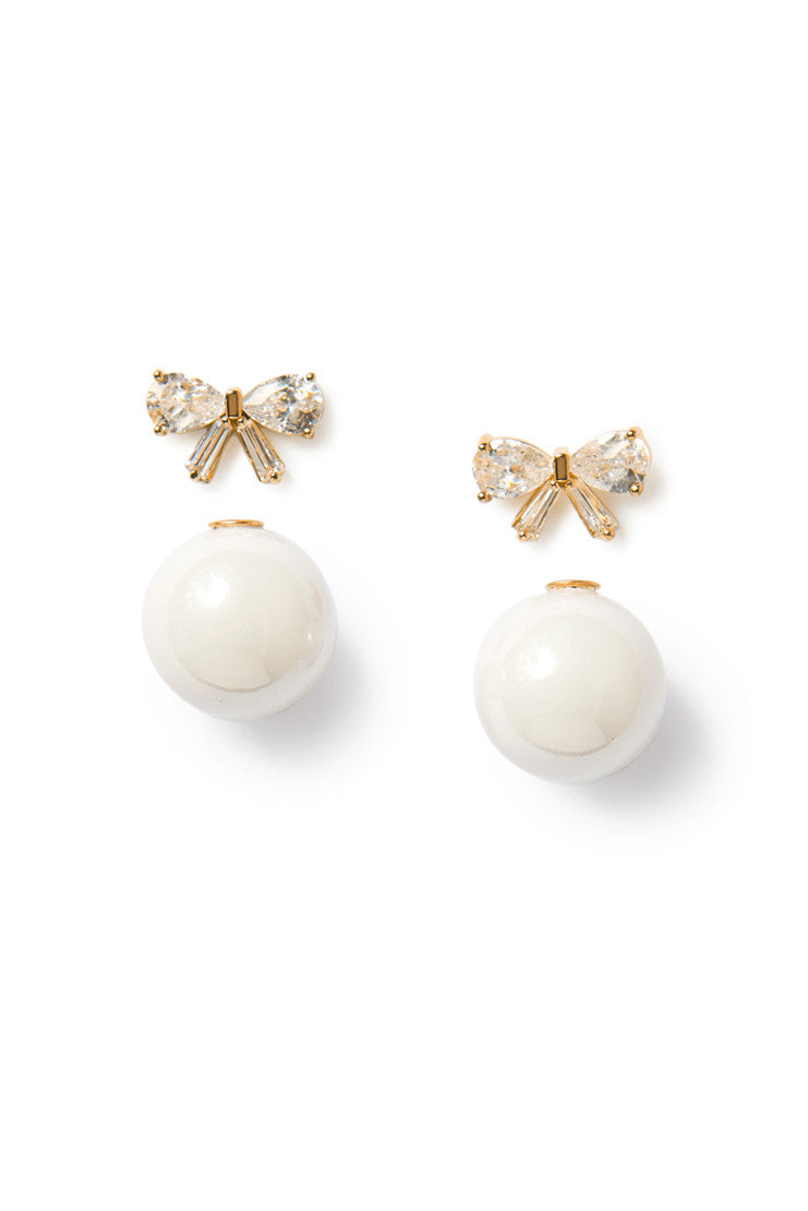 Bow and Faux Pearl Stud Earring