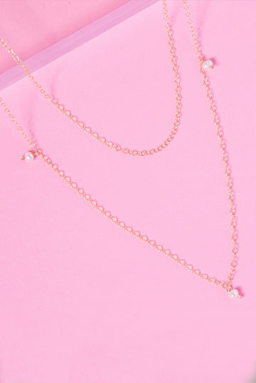 Tiered 14K Double Chain Pearl Accent Necklace