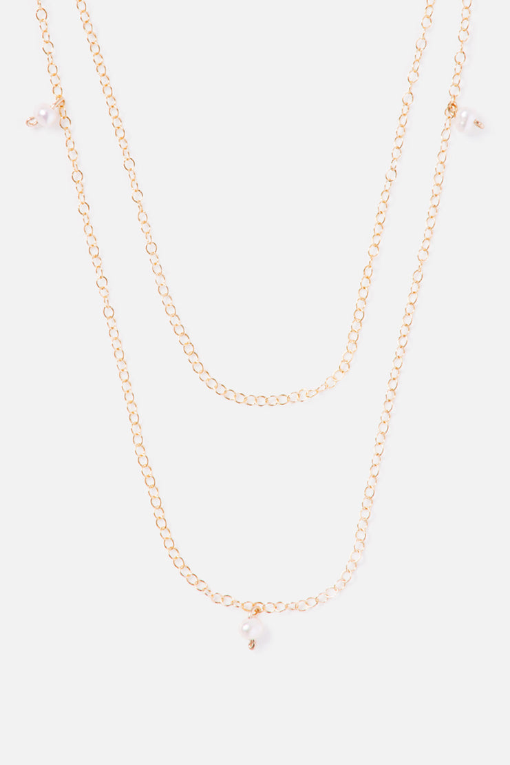 Tiered 14K Double Chain Accent Necklace