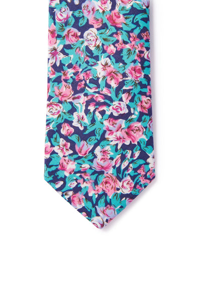 """Edward"" Floral Print Necktie - Turquoise & Pink"
