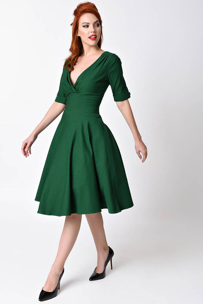 Emerald Green Sleeved Swing Dress