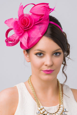 """Emelia Rose"" Fascinator - Fuchsia"