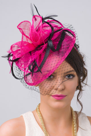 """Noor"" Fascinator - Fuchsia And Black"