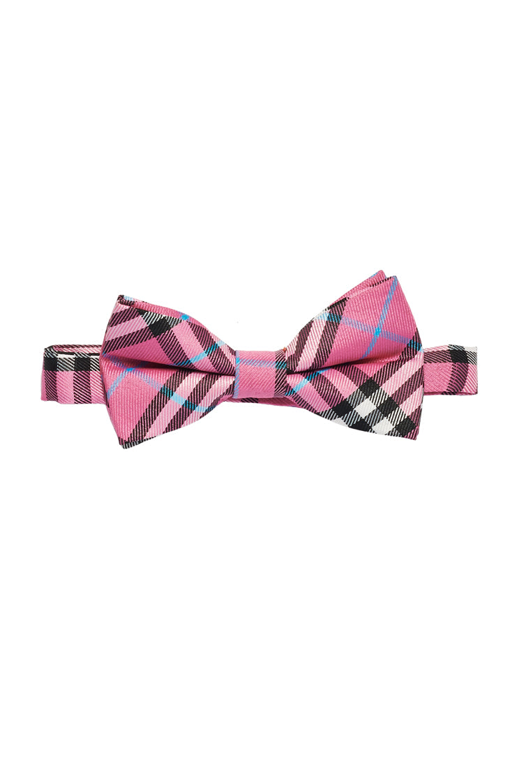 Young Boy's Plaid Print Bow Tie - Pink