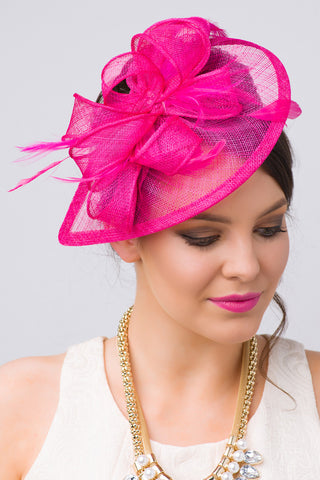"""Penny"" Fascinator - Fuchsia"