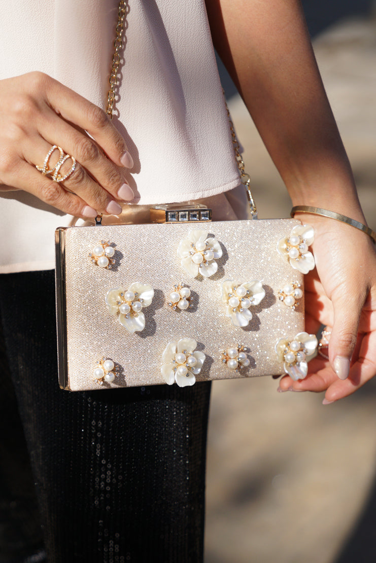 Gold Pearl Flower Clutch