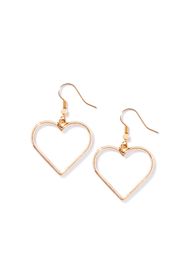 Gold Drop Heart Earring