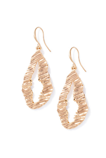 Gold Ridge Drop Earring
