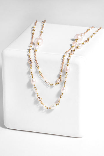 Double Pearl Chain Necklace