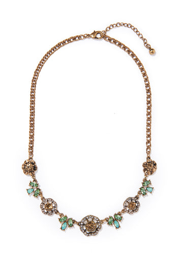 Flower Stones Collar Necklace