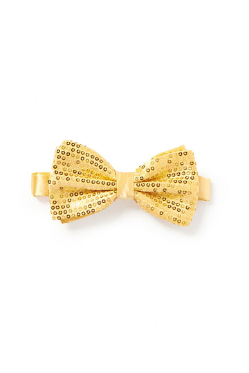 Men's Sequin Bow Tie - Gold