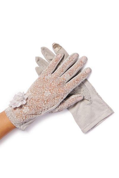 gray gloves