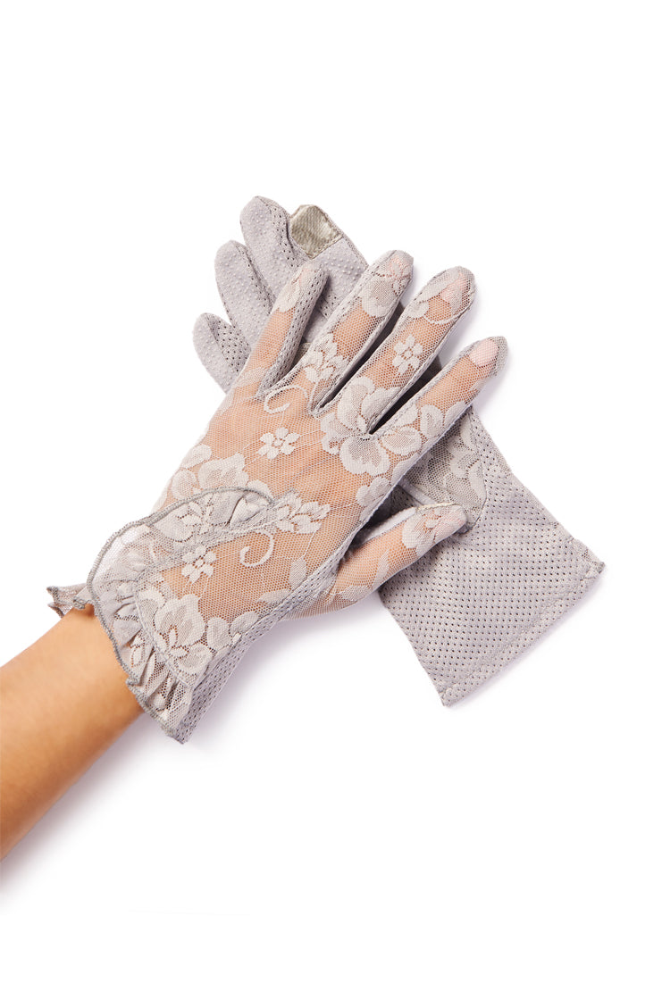 gray lace sheer gloves