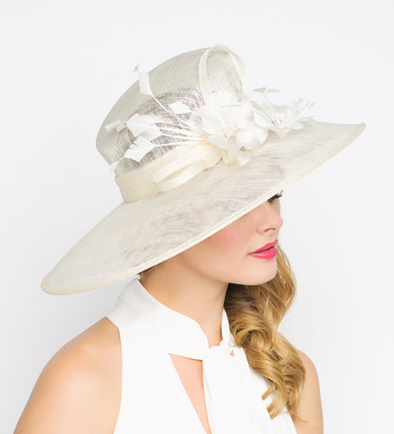 """Alexandria"" Wide Brimmed Sun Hat - Ivory"