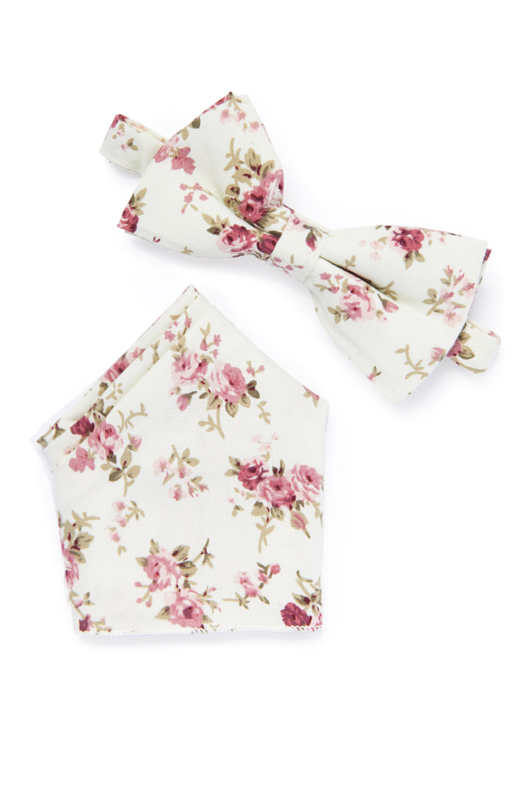 Floral Bow Tie - Ivory & Pink