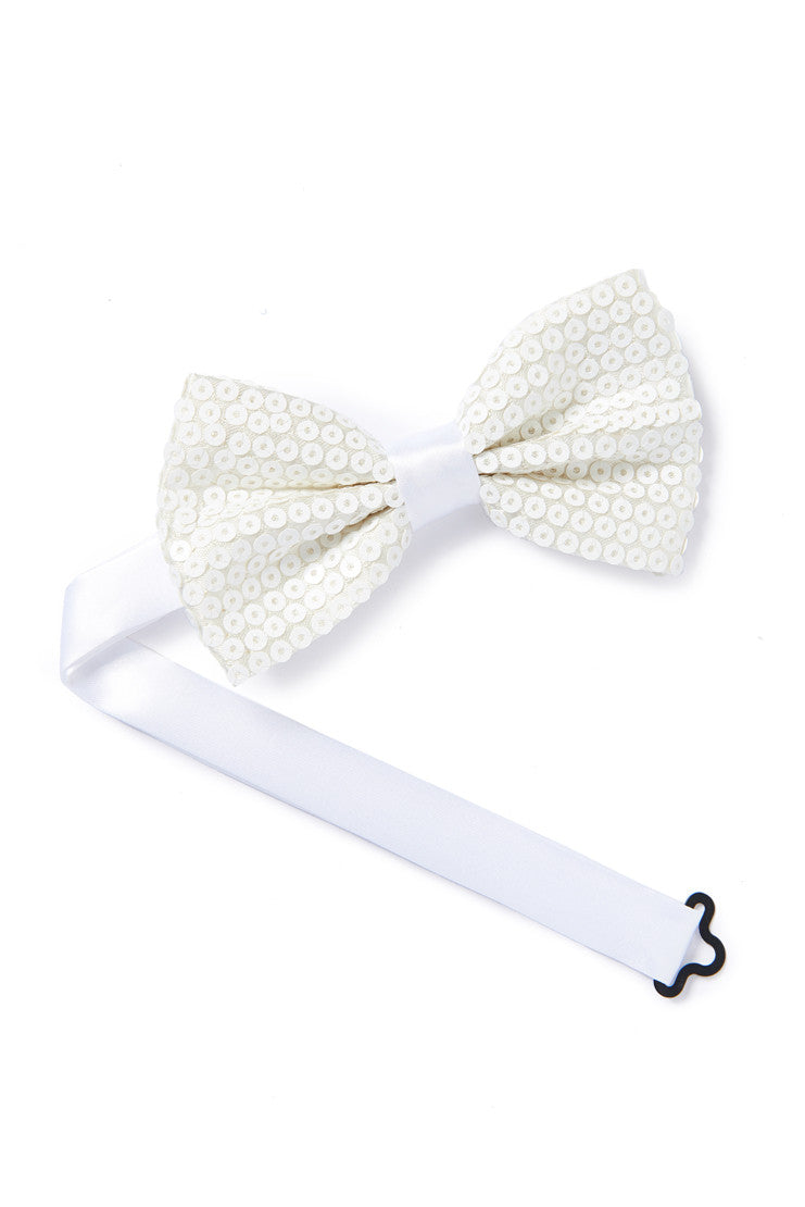 Sequined Ivory Bow Tie